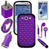 Samsung Galaxy S3 S III GS3 Purple Diamond Studs Dual Layer Rugged Case USB Car Charger Plug USB Home Charger Plug USB 2.0 Data Cable Metallic Stylus Pen Stereo Headset & Screen Protector (7 Items) Retail Value: $89.95