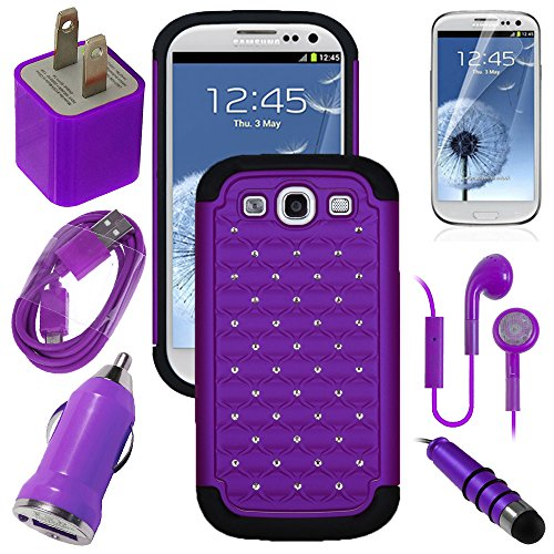 Samsung Galaxy S3, S Iii, Gs3 Purple Diamond Studs Dual Layer Rugged Case, Usb Car Charger Plug, Usb Home Charger Plug, Usb 2.0 Data Cable, Metallic Stylus Pen, Stereo Headset & Screen Protector (7 Items) Retail Value: $89.95