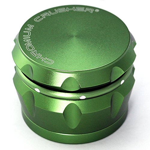 Buy Discount Chromium Crusher Drum 2.5 Inch 4 Piece Tobacco Spice Herb Grinder -Groovy Green