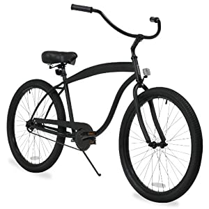 sixthreezero Men's In The Barrel 3-Speed Beach Cruiser Bicycle, Matte Black, 26-Inch