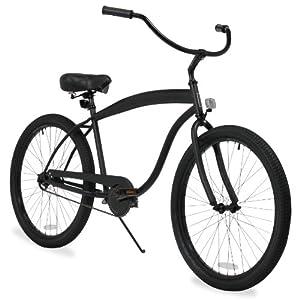 sixthreezero Men's In The Barrel 3-Speed Beach Cruiser Bicycle, Matte Black, 26-Inch