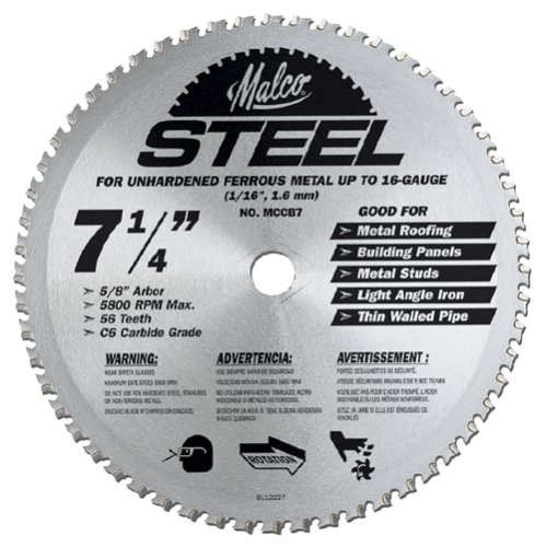Malco MCCB7 7 1/4-Inch 56 Tooth Metal Cutting Saw Blade for Standing Seam Roof Panels (Steel Roofing Panels compare prices)