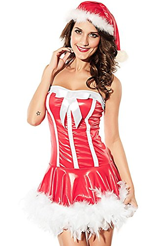 Tengfurich Santa Mrs. Women's Strapless Mini Costume Dress Sexy
