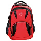 New Youngster Dual Color Backpack With Water And Dust Proof Rain Cover [RED]