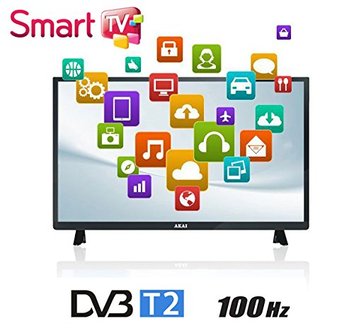 "AKAI TV LED 32"" HD READY 100 HZ DIGITALE TERRESTRE DVB-T2 SMART TV WI-FI COLORE NERO"