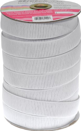 Stretchrite 1-Inch by 30-Yard White Ribbed Non-Roll Woven Polyester Elastic Spool
