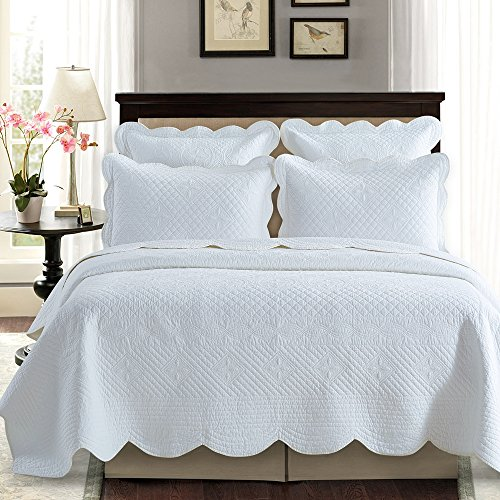 Best Deals! Sage Garden Luxury Pure Cotton Quilt By Calla Angel, King, White