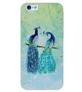 PrintDhaba PEACOCK PAIR D-6824 Back Case Cover for APPLE IPHONE 6S (Multi-Coloured)