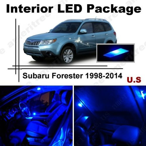 Ameritree Blue Led Lights Interior Package + Blue Led License Plate Kit For Subaru Forester 1998-2014 (8 Pieces)