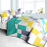 [Wonderful Melody] 3PC Vermicelli - Quilted Patchwork Quilt Set (UK Double/King Size) / (US Full/Queen Size)