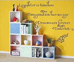 OneHouse Laughter is Timeless Imagination Has No Age Dreams Are Forever Quote Tinkerbell Vinyl Lettering Wall Sticker by OneHouse