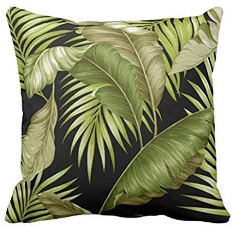 Hawaiian Garden Tropical Leaves | black green Throw pillow case 2020