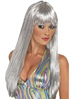 Smiffy's Women's Glitter Disco Wig Long Straight with Fringe