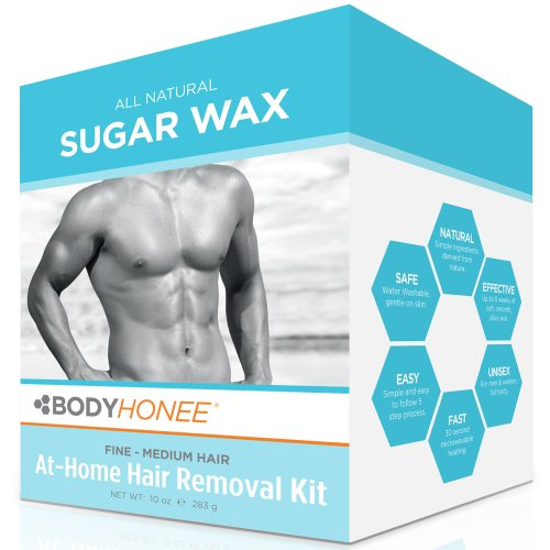 Hair Removal Waxing Kit Men + Women, All Natural | BodyHonee (10 Oz) (Hair Removal Male compare prices)
