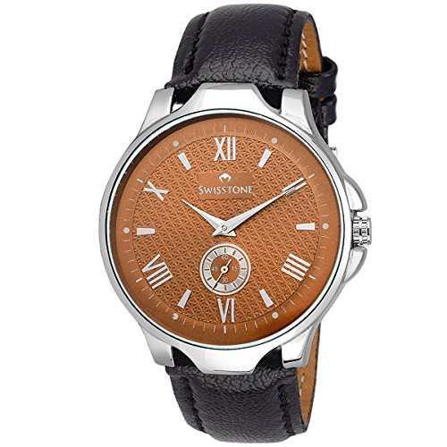 Swisstone GR022-BRW-BLK Brown Dial Black Leather Strap Analog Wrist Watch For Men/Boys