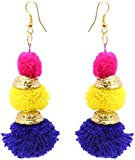 Badhs design studio Yellow, Purple and Pink Resin Handmade Dangle and Drop Earrings for Women (BFS-6)