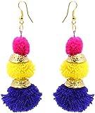 Badhs design studio Yellow, Purple and Pink Resin Handmade Dangle and Drop Earrings for Women (BFS-6)