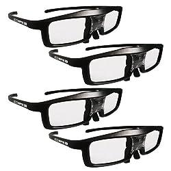True Depth 3D NEW Firestorm LT Lightweight Rechargeable DLP link 3D Glasses for All 3D Projectors (Benq Optoma Acer Vivitek Dell Etc) and All DLP HD 3D TVs (Mitsubishi Samsung Etc) Compatible At 96 Hz 120 Hz and 144 Hz! (4 Pairs!)