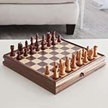 Deluxe Chess amp Checker Game Gift Set with Bonus Storage Playing Board Walnut