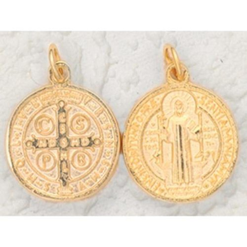 """25 St. Benedict Medals 18K Gold Plated 1"""""""