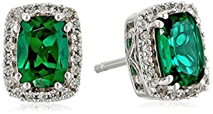 Sterling Silver Cushion Cut Created Emerald and Created White Sapphire Earrings
