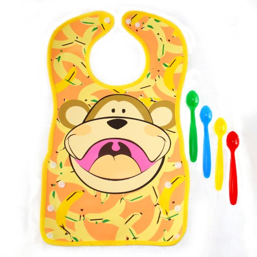 Little Squats- Monkey Bib and Spoon Set - 1