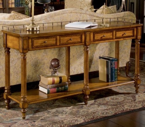 """Sofa Table - Umber (Umber / Antique Brass) (32""""H x 60""""W x 16""""D)"""