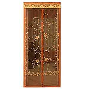 Hands Free Magic Mesh Magnetic Screen Door Curtain With Beautiful Pattern Brown