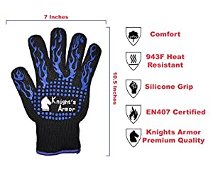 932F Heat & Cut Resistant Gloves - 932F Oven Mitts - 100% Cotton Lining with Silicone Stripes for Strong Grip - Kitchen & Garden Accessories BONUS Grilling Silicone Brush