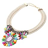 Women Accessory Multicolor Jewelry Banquet Crystal Weave Pendant Necklace