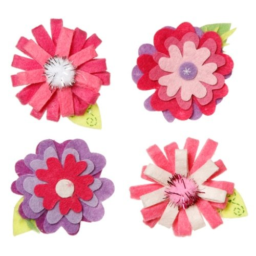 WeGlow International Felt Embellishment Pink and More Flowers, Set of 8