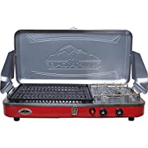 Camp Chef Mountain Series Rainer Camper 2 Burner Stove/Grill/Griddle Combo, Red/Silver MS2GG