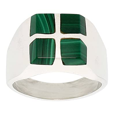 Gent's Sterling Silver Square Cuts Malachite Ring