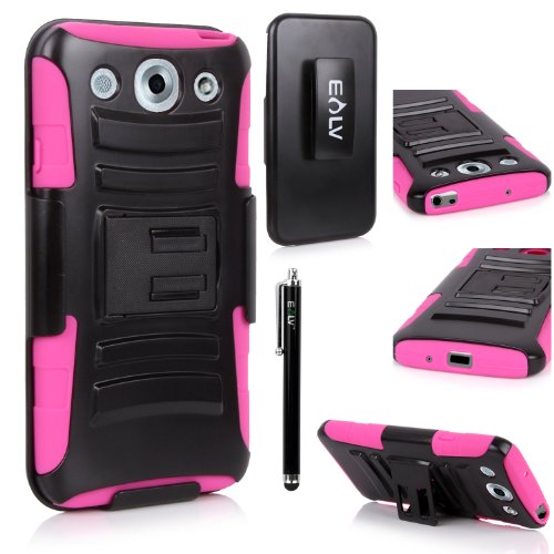 E LV LG Optimus G Pro E980 / E940 Dual Layer Armor Shell Holster Case with Kickstand, Belt Swivel Clip, and Stylus - Hot Pink