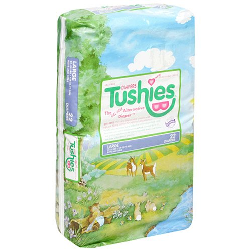Tushies Diapers, Large (22-35 Pounds), 22 Count (Pack of 4)
