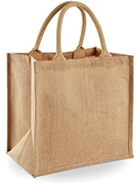 Westford Mill Jute Mini Tote Shopping Bag (14 Litres) (One Size) (Natural)