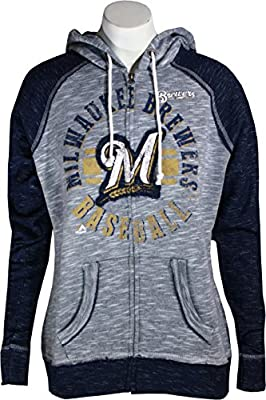 Milwaukee Brewers Flash Pitch Women's Heather Gray Zip-up Hoodie