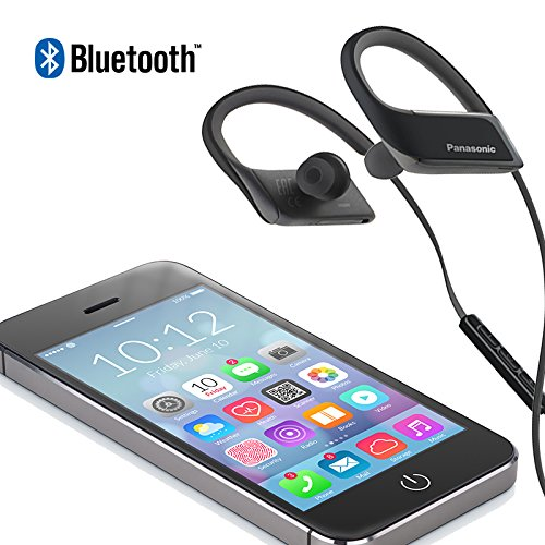Panasonic WINGS Best in Class Wireless Bluetooth In Ear Earbuds Sport Headphones with Mic + Controller RP-BTS30-K (Jet Black) with Travel Pouch, Water Resistant, iPhone, Android Compatible
