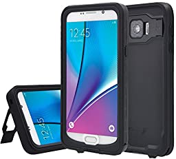 XIKEZAN Note 5 Case Samsung Galaxy Note 5 Waterproof Case Underwater Shockproof Dirtproof Heavy Duty Full Body Armor Defender Protective Hard Cover with Built in Screen Protector & Kickstand Black