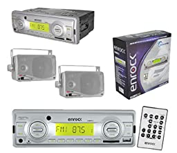 New Enrock Boat Outdoor Media Player USB AUX w/Pair of 3.5\