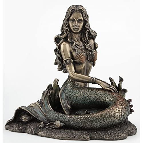 Mermaid Sitting on Beach - Bronze Sculpture Figurine Statue