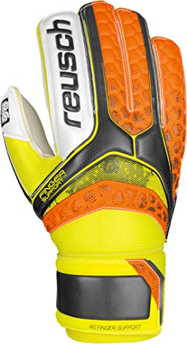 Reusch RE: pulse RG Finger Support - Guanti da portiere, Uomo, Re:pulse RG Finger Support, Black/Shocking Orange, 9