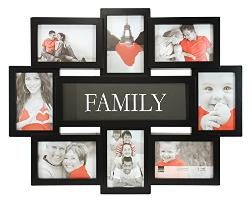 Kiera Grace Family Collage Frame, 17.5 by 22 Inch Holds 8- 4 by 6 Inch Photos, Black