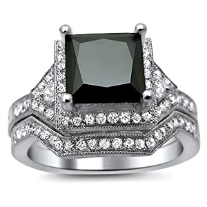 2.70ct Princess Black Diamond Engagement Ring Bridal Set 14K White Gold
