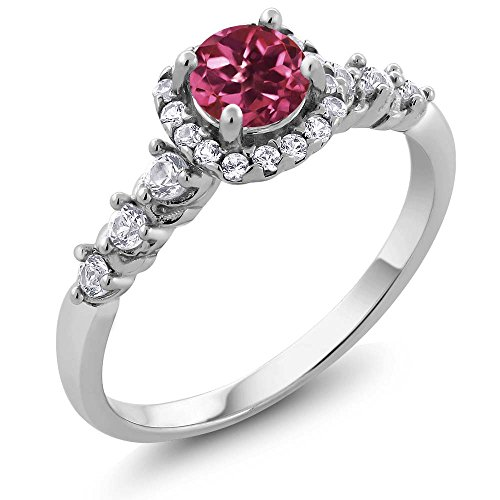Round Pink Tourmaline and White Topaz 925 Sterling Silver Women's Ring - Sizes 5 - 9