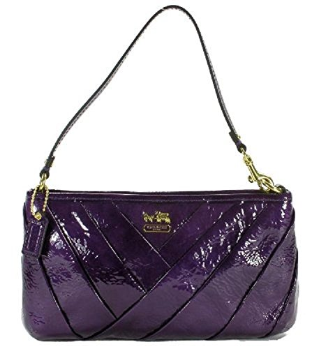 Coach   Coach Madison Diagonal Pleated Patent Leather Large Wristlet, Style 48522 Violet