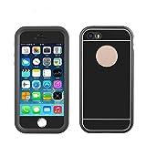Shokk 金属製 iphone 5S対応するケース、5S防水ケース、アイフォン5Sケース防雪、防塵、防埃、耐衝撃、IP68防水レベルを取得する (黒色)