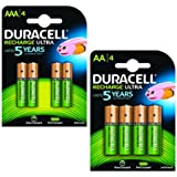 Duracell AA & AAA Pre-Charged Pile Rechargeable Pack de 8