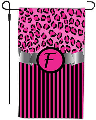 """Rikki Knighttm Letter """"F"""" Initial Hot Pink Leopard Print And Stripes Monogrammed Design Decorative House Or Garden Flag 12 X 18 Inch Full Bleed (Proudly Made In The Usa) front-591107"""