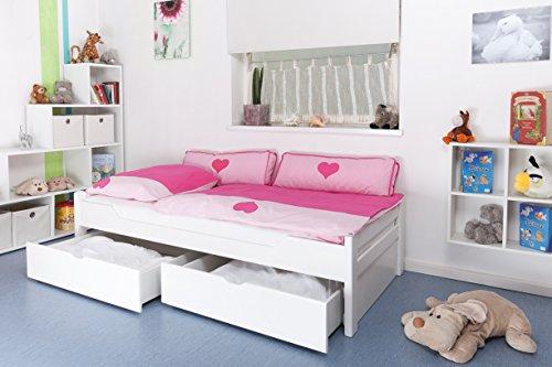 """Lit pour enfant/adolescent """"Easy Sleep"""" K1/1n avec 2tiroirs et 2panneaux de masquage, 90 x 200 cm en hêtre massif peint en blanc"""